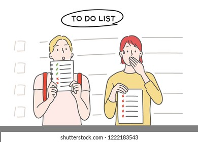 The boy and the girl are holding a to-do list. hand drawn style vector design illustrations.