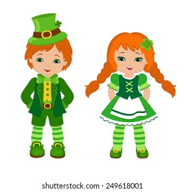 Boy and girl in Irish costumes. St. Patrick's Day. Vector illustration