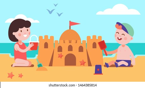 Boy & girl kids building sandcastle sitting on summer sea shore beach sand. Happy children cartoon characters playing together holding toy bucket & shovel. Holiday leisure. Flat vector illustration