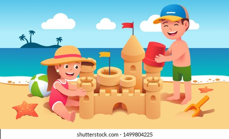 Boy & girl kids sitting & standing on sand & building sandcastle on summer sea beach. Happy children cartoon characters holding toy bucket & playing together. Holiday leisure. Flat vector illustration