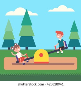 Boy and girl kids swinging on seesaw at the public park playground. Modern flat style vector illustration cartoon clipart.
