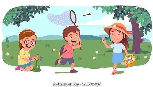 Boy, girl kids walk, run, pick flowers, catch butterflies with butterfly net on beautiful summer lawn. Happy children cartoon characters enjoying countryside nature outdoors. Flat vector illustration