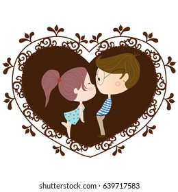 boy and girl kissing in a heart with ornament