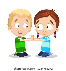 Boy and girl kneeling and clapping their hands. Two cartoon kids enjoying game vector illustration. Childs game and fun concept. Isolated on white background