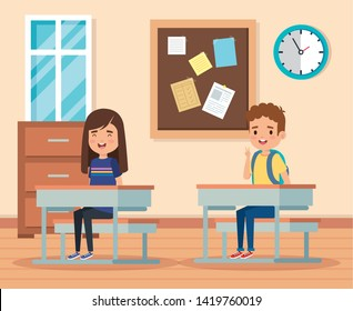 boy and girl learning in the academic classroom