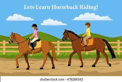 Boy and Girl Learning Horseback Riding. Countryside background