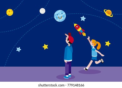 Boy and Girl looking at the night sky full of planets and stars. The girl is throwing a rocket. Vector illustration in a flat, minimal style.