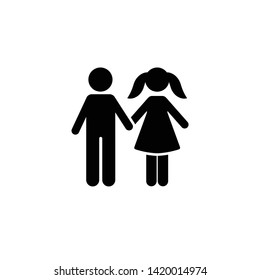 Boy, girl, in love, school, icon. Element of children pictogram. Premium quality graphic design icon. Signs and symbols collection icon