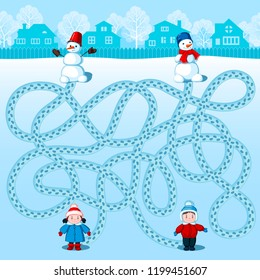 Boy and girl make two snowmen. Find whose is where? Children's winter picture with a riddle