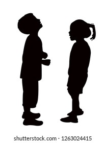 a boy and girl making chat, silhouette vector