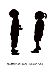 a boy and a girl making chat, silhouette vector