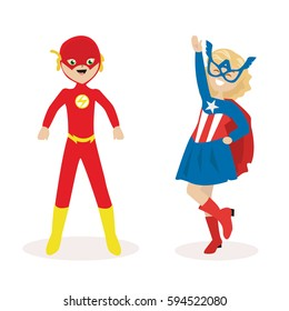 Boy and a girl in masks and suits of super heroes. Flat character isolated on white background. Vector, illustration EPS10.