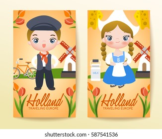 Boy and girl in national costume : Holland : Vector Illustration