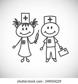 boy and girl in nurse uniform