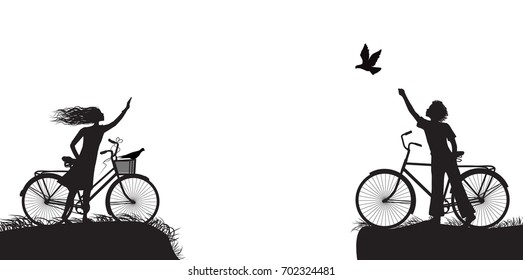 boy and girl on bicycle waving each other and boy frees the pigeon, two lovers on the bicycle, black and white vector