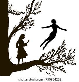 boy and girl on the big tree,  tree of childhood, childhood memory, way to  the wonderland, vector.