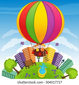 boy and girl on hot air balloon - vector illustration, eps