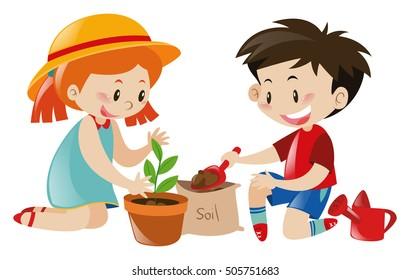 Boy and girl planting tree illustration