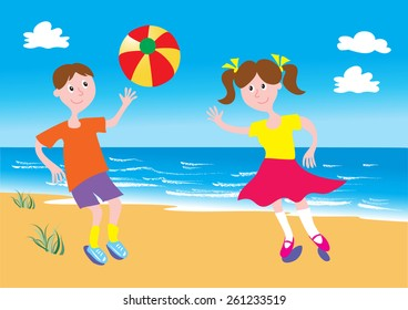 boy and girl playing with a beach ball on a sandy beach with blue sky and fluffy clouds