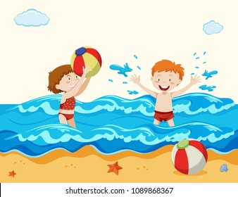 Boy and Girl Playing at the Beach illustration