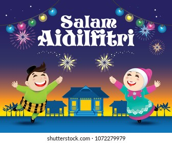 "A boy and a girl is playing with fireworks during their Raya festival celebration. With village evening's scene. The white words ""Salam Aidilfitri"" means happy Hari Raya."