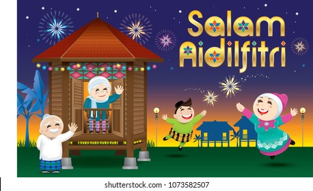 "A boy and a girl playing with fireworks during their Raya festival celebration. With village evening's scene. The words ""Salam Aidilfitri"" means happy Hari Raya."