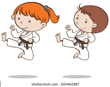 Boy and girl playing karate illustration