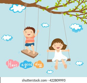 boy and girl playing on swing concept and character vector illustration