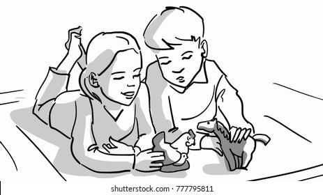 A boy and a girl are playing porcelain animals lying on the floor. Black and white vector sketch. Simple drawing.