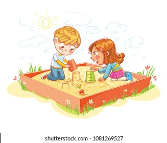 Boy and Girl are playing in the sandbox  in recreation park. Place for children's games. Amusement park. Funny cartoon character. Vector illustration. Isolated on white background