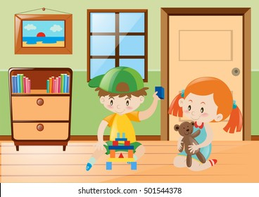 Boy and girl playing toys in the room illustration