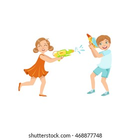 Boy And Girl Playing Water Pistols Fight