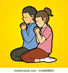 Boy and Girl pray together, Prayer, Christian praying children pray with God cartoon graphic vector