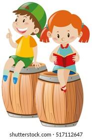Boy and girl reading book on barrels illustration
