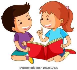 Boy and girl reading storybook illustration