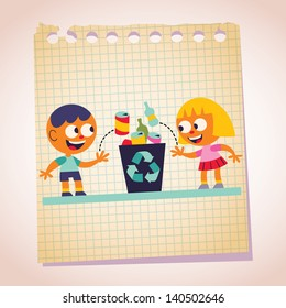 Boy Girl Recycling Stock Vector Royalty Free 88160914 Shutterstock