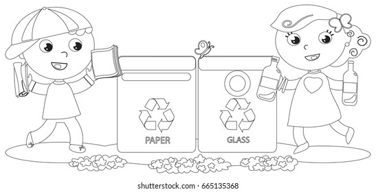 Boy and girl recycling in paper and glass bin. Coloring vector illustration.