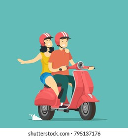 Boy and girl rides on scooter. Vector illustration.