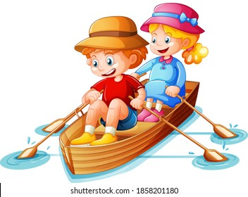 Boy and girl row the boat on white background illustration