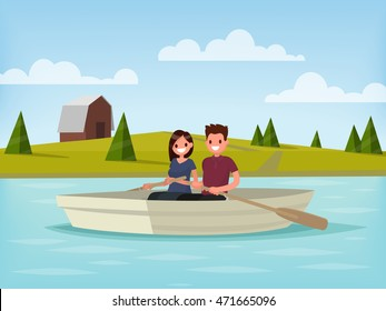 Boy and girl are sailing on a boat. Young couple is  relaxing on the lake. Vector illustration of a flat design