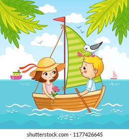 Boy and a girl are sailing on a sailboat on the sea. Vector illustration of a cartoon style on a summer theme.