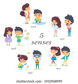 Boy and girl showing five senses set. Sense of sight, touch, hear, smell, taste vector illustration. Small happy children in nature and exploring wonders of spring. Joyful education at childhood.
