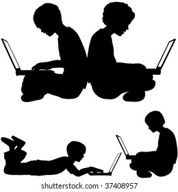 Boy and girl silhouettes as kids sitting or lying on the ground using laptop computers.
