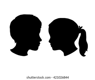 Boy and Girl silhouettes on a white background. Black face profile in vector