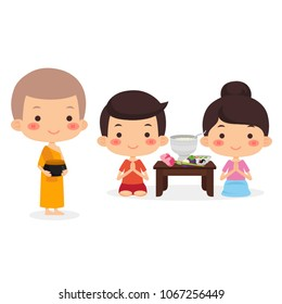 Boy And Girl Sitting Offering Food To Monk ,Vector Illustration