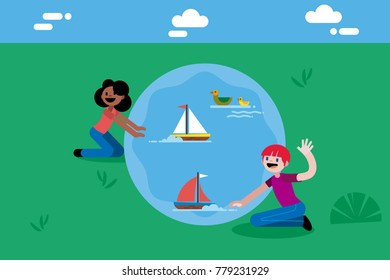 Boy and girl, sitting on his knees, playing with model boats In a lake. Flat and minimal style vector illustration.