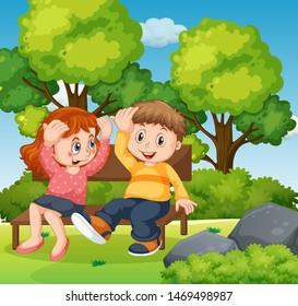 Boy and girl sitting in park together illustration