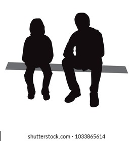 Boy and girl sitting, silhouette vector, people, teenagers,  black color, relax, isolated on white background
