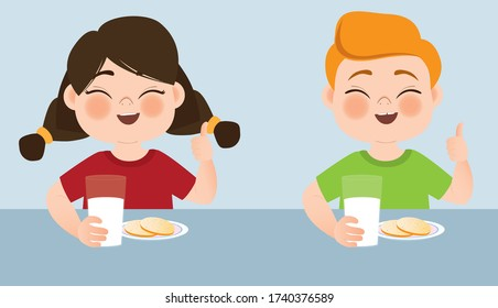 A boy and a girl are sitting at the table and are happy to drink milk. Proper nutrition. Healthy food. Vector illustration