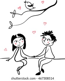 Boy and girl sitting together. Hand drown simple vector.